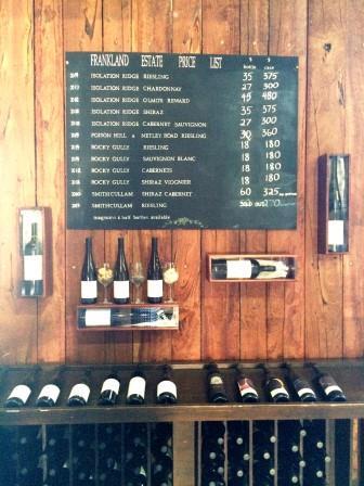 Prices at Cellar Door Frankland