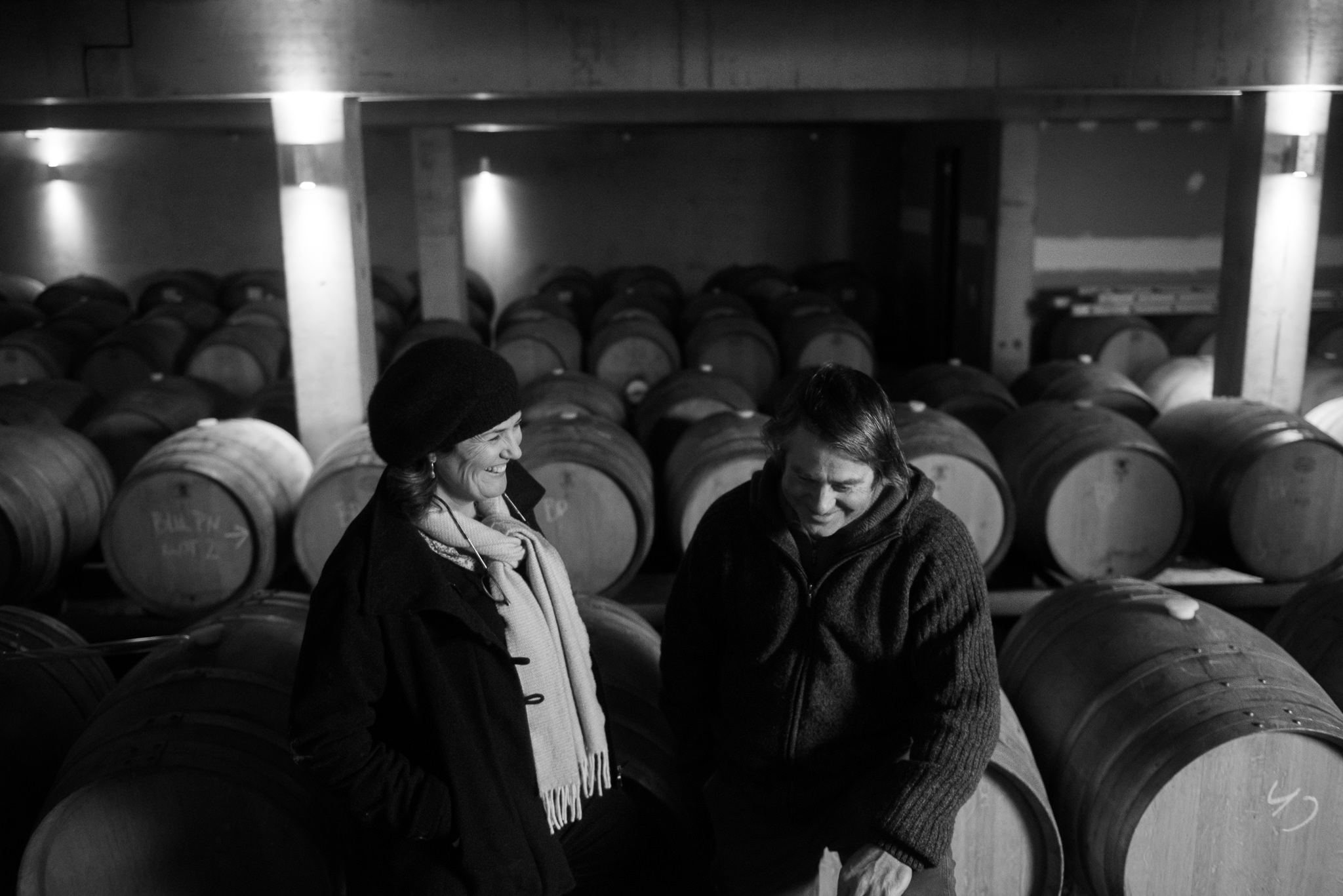 Steve and Monique share a laught barrel room 2016